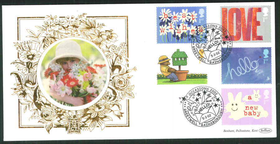 2002 -Greetings FDC Benham 22ct Gold 500Greetwell Gainsborough Postmark