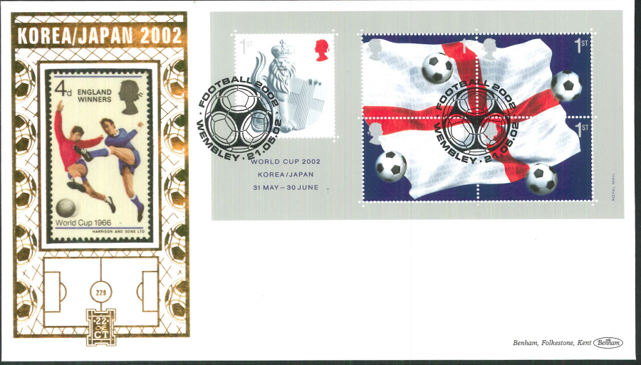 2002 -World Cup Mini Sheet FDC Benham 22ct Gold 500 Wembley Postmark