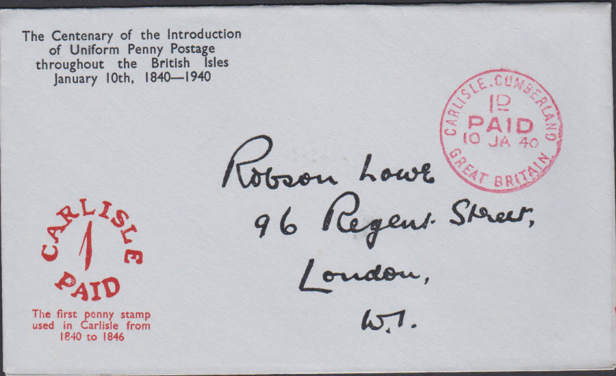 1940 - Robson Lowe Uniform Penny Post Cover Carlise