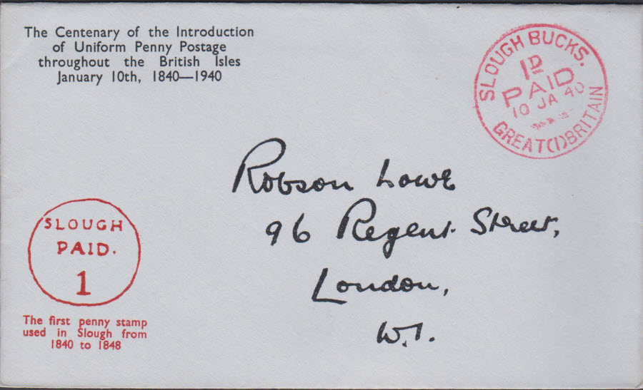 1940 - Robson Lowe Uniform Penny Post Cover Slough,Bucks