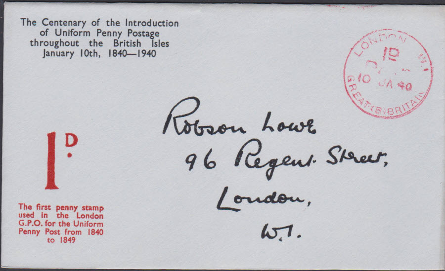 1940 - Robson Lowe Uniform Penny Post Cover London W 1