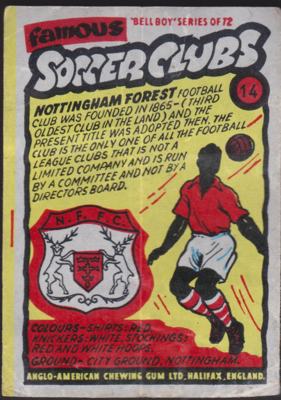 Anglo-American-Chewing-Gum-Wax-Wrapper-Famous-Soccer-Clubs-No-14 - Nottenham Forest F C