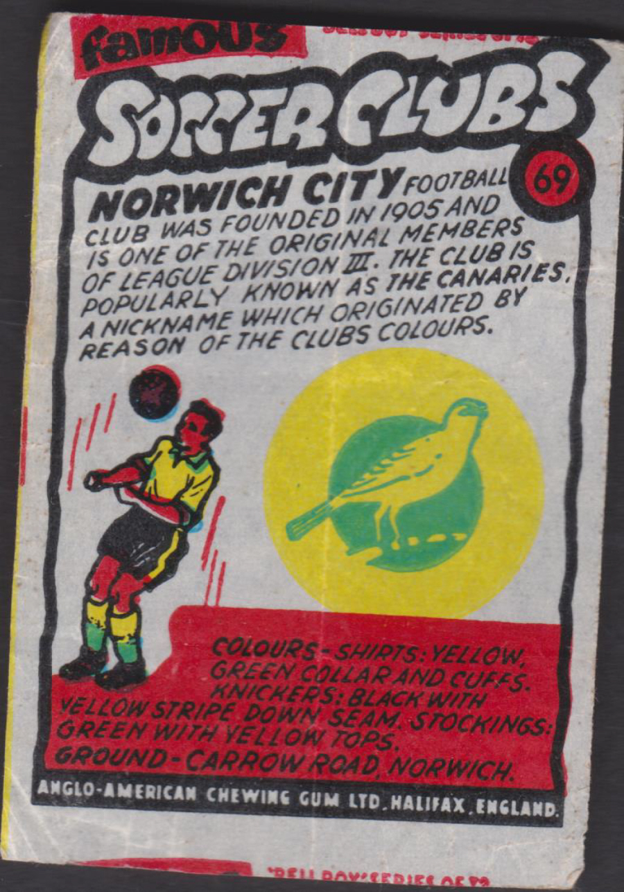 Anglo-American-Chewing-Gum-Wax-Wrapper-Famous-Soccer-Clubs-No-69 - Norwich City F C