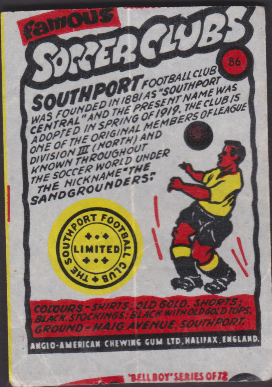Anglo-American-Chewing-Gum-Wax-Wrapper-Famous-Soccer-Clubs-No-86 - Southport F C