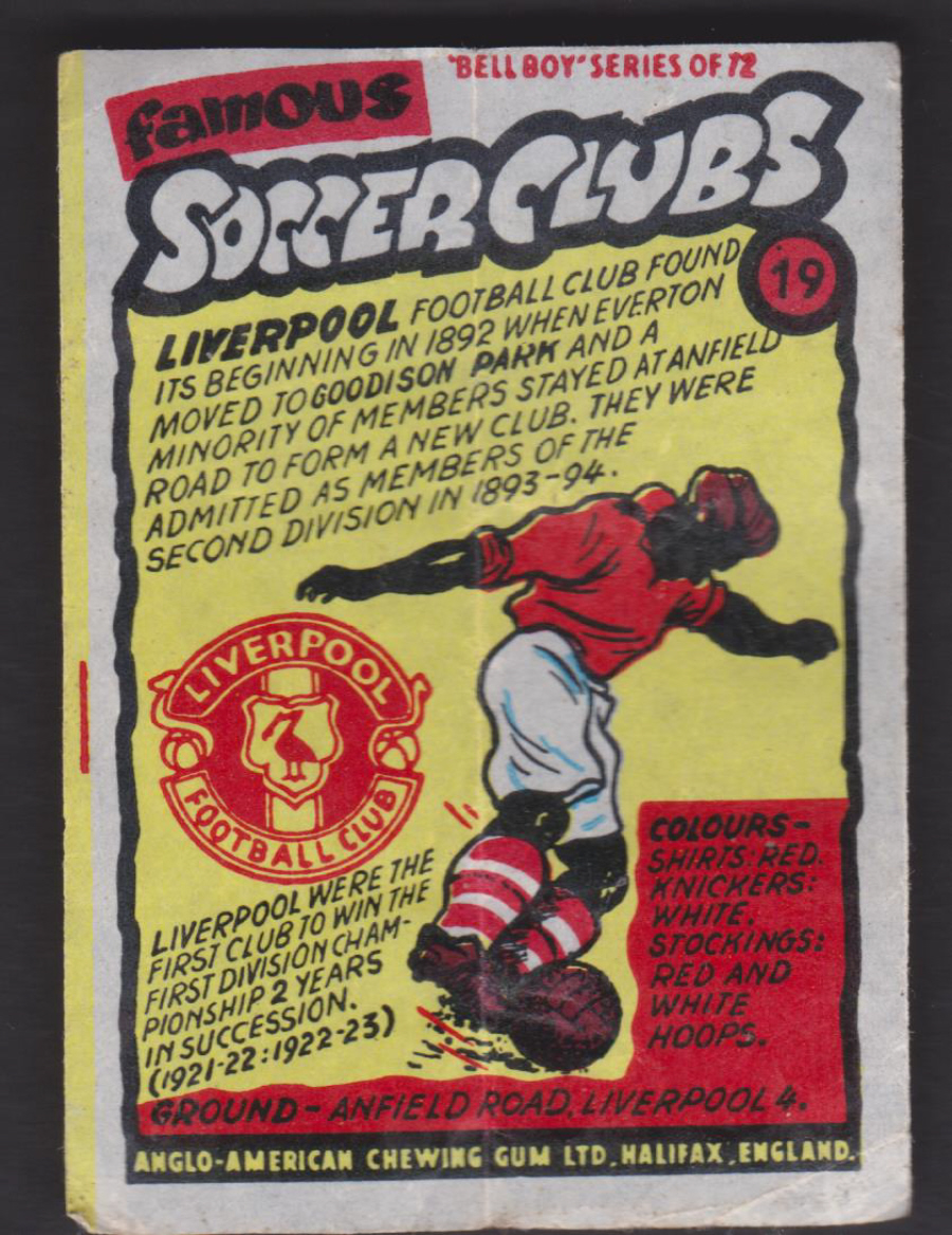 Anglo-American-Chewing-Gum-Wax-Wrapper-Famous-Soccer-Clubs-No-19 - Liverpool F C