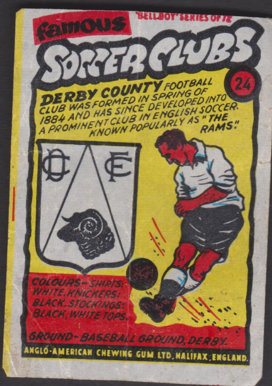 Anglo-American-Chewing-Gum-Wax-Wrapper-Famous-Soccer-Clubs-No-24 - Derby County F C