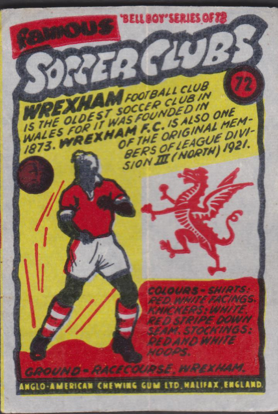 Anglo-American-Chewing-Gum-Wax-Wrapper-Famous-Soccer-Clubs-No-72 - Wrexham F C