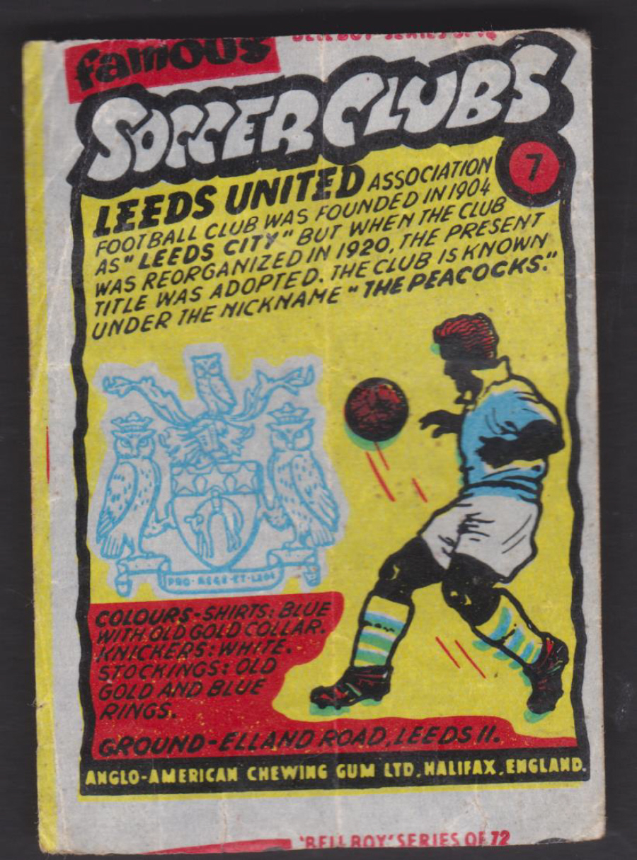 Anglo-American-Chewing-Gum-Wax-Wrapper-Famous-Soccer-Clubs-No-7 - Leeds United F C