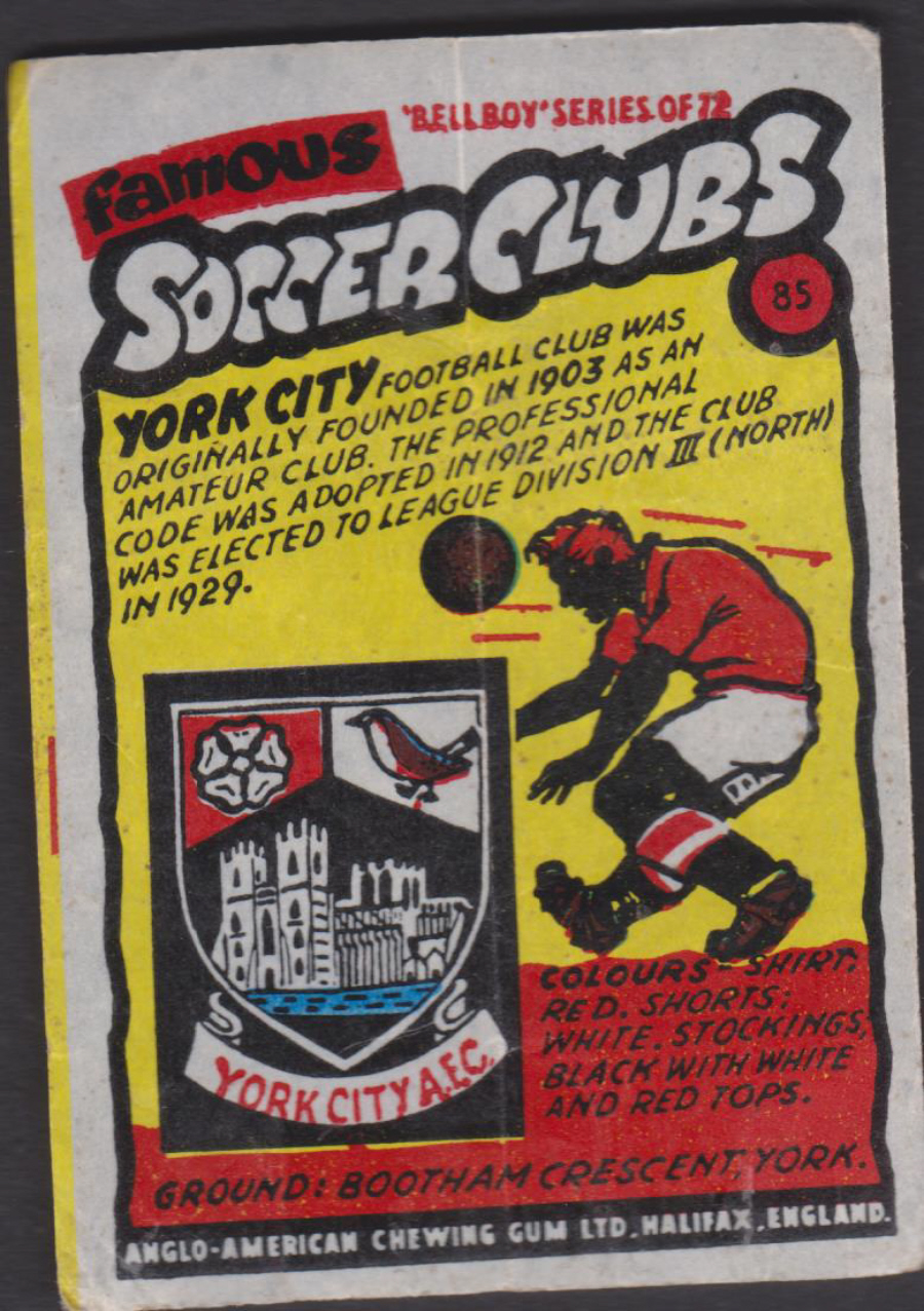 Anglo-American-Chewing-Gum-Wax-Wrapper-Famous-Soccer-Clubs-No-85 - York City F C