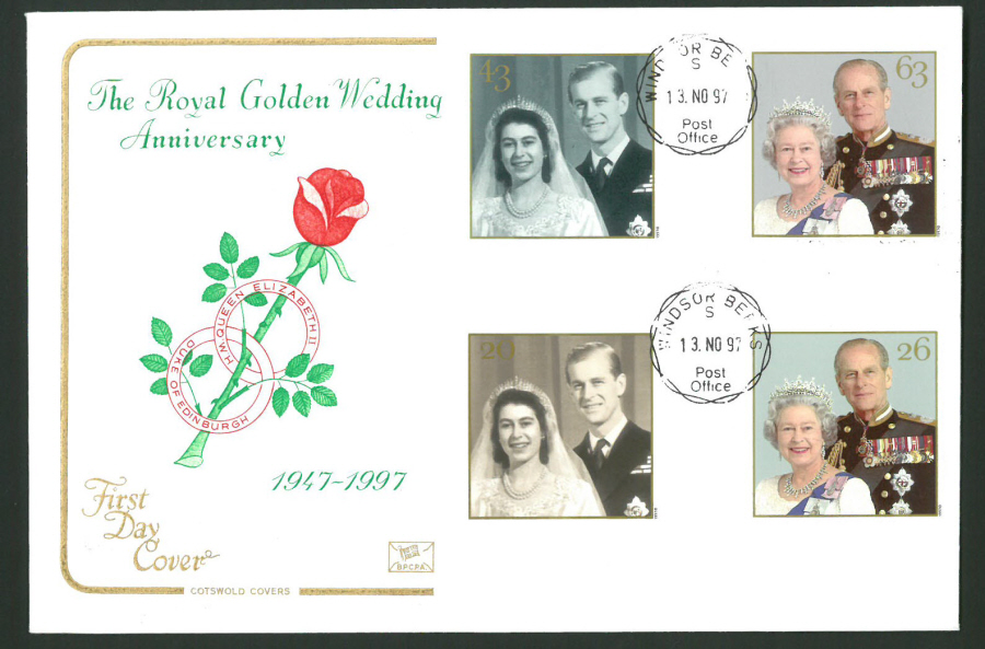 1997 Cotswold First Day Cover -Golden Wedding - Windsor C D S Postmark -