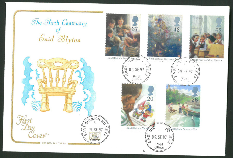 1997 Cotswold First Day Cover -Enid Blyton - East Dulwich B O C D S Postmark -
