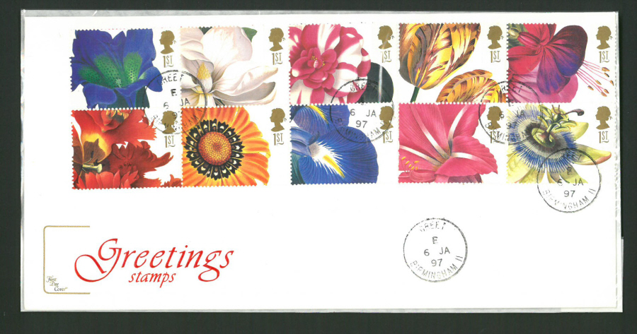 1997 Cotswold First Day Cover - Greetings - Greet Birmingham C D S Postmark -