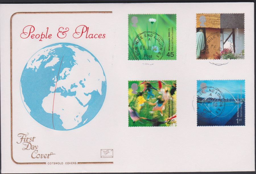 2000 People & Places COTSWOLD CDS First Day Cover - Bow Mile End London E3 Postmark