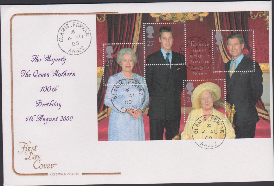 2000 Queen Mother's 100 th Birthday COTSWOLD CDS First Day Cover - Glamis,Forfar Postmark