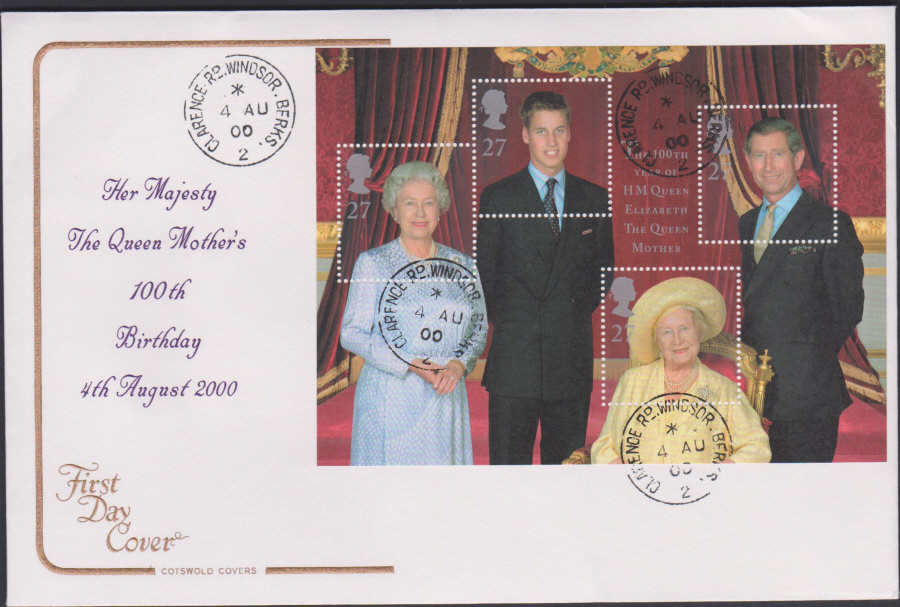 2000 Queen Mother's 100 th Birthday COTSWOLD CDS First Day Cover - Clarence Rd, Windsor Postmark