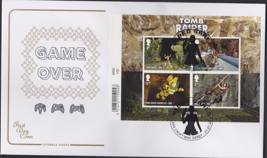 2020 Cotswold FDC - Video Games Mini Sheet- Lara Croft Way,Derby Round Postmark