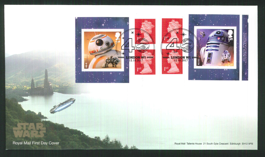 "2017 - First Day Cover ""Star Wars"" Droids Retail Booklet, Royal Mail, London W1 (40) Pictorial Postmark"