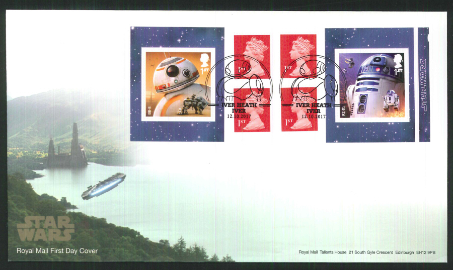 "2017 - First Day Cover ""Star Wars"" Droids Retail Booklet, Royal Mail, Iver Heath, Iver Pictorial Postmark"