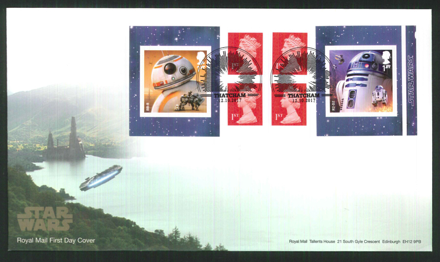 "2017 - First Day Cover ""Star Wars"" Droids Retail Booklet, Royal Mail, Thatcham Pictorial Postmark"