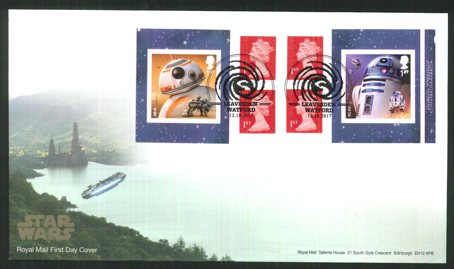 "2017 - First Day Cover ""Star Wars"" Droids Retail Booklet, Royal Mail, Leavesden, Watford Pictorial Postmark"