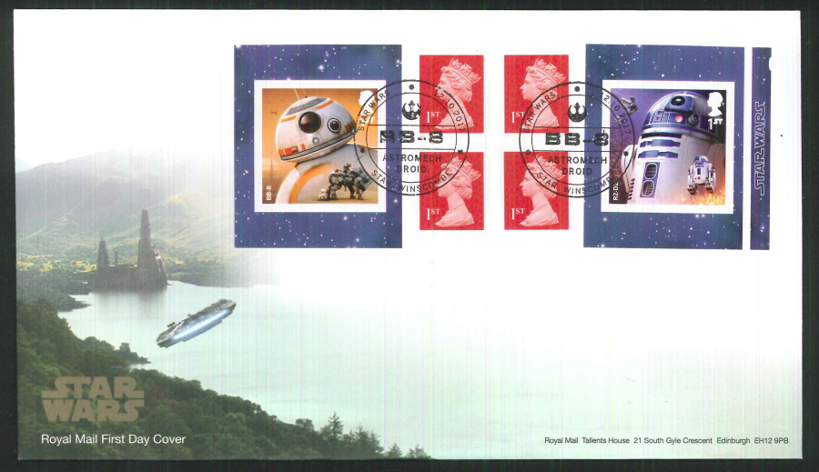"2017 - First Day Cover ""Star Wars"" Droids Retail Booklet, Royal Mail, Star, Winscombe (BB-8) Postmark"
