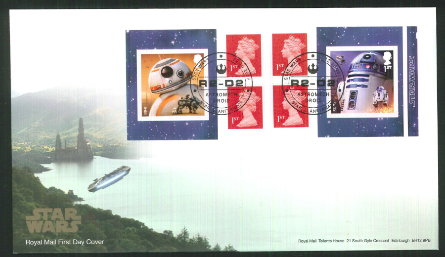 "2017 - First Day Cover ""Star Wars"" Droids Retail Booklet, Royal Mail, Star, Llanfyrnach (R2-D2) Postmark"