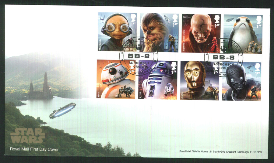 "2017 - First Day Cover ""Star Wars"", Royal Mail, Star, Winscombe (BB-8) Postmark"